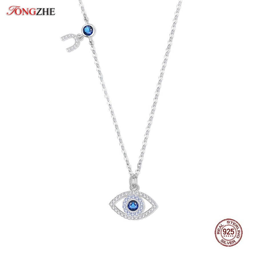 Evil Eye Necklace Women Blue Main Stone 925 Sterling Silver Statement Necklaces & Pendants Long Chain Turkish Jewelry Making