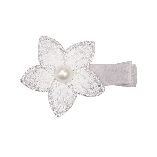 10 Colors Baby Girls Print Hairpin Knotted Bownot Hairpin Cute Lace Pearl Flower Hair Clips Hair Accessories Headwear