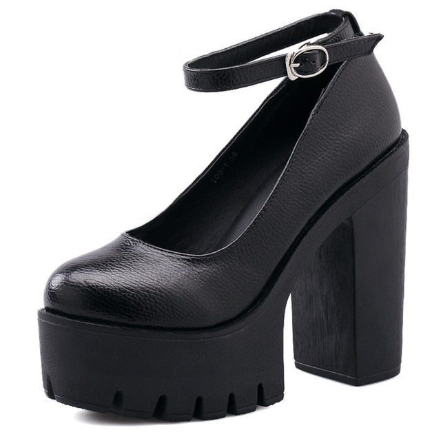 new spring autumn casual high-heeled shoes sexy thick heels platform pumps Black White Size