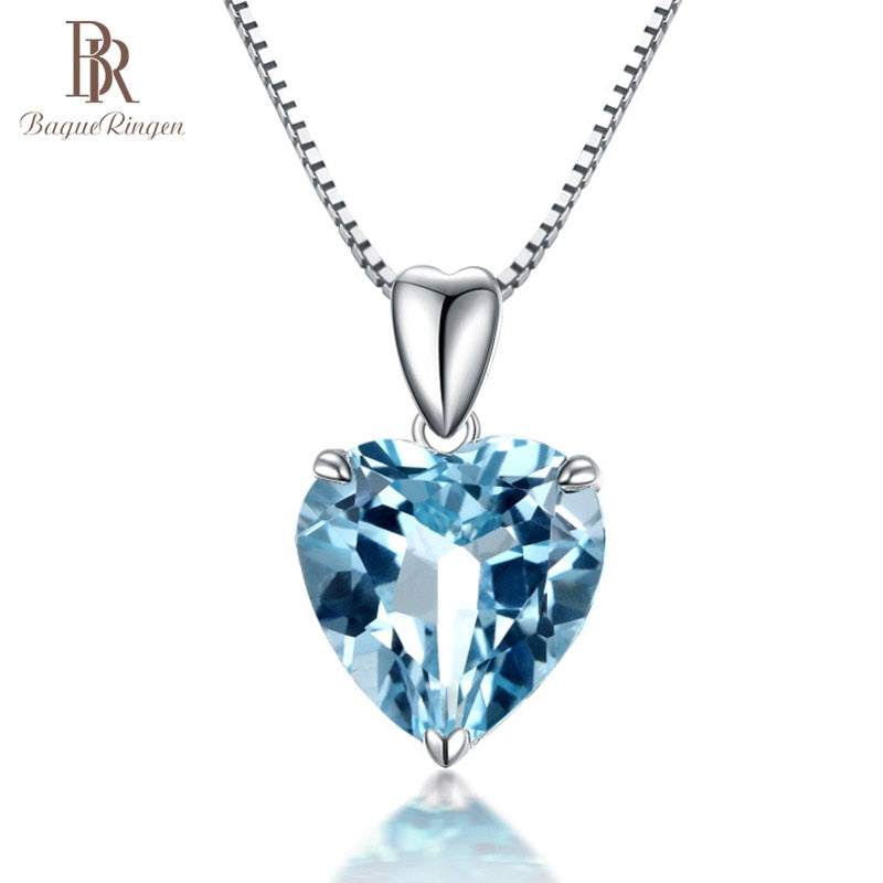 Ringer silver 925 jewelry necklace with Heart of the Sea shape sapphire Pendant luxury jewelry Engagement Wedding Gift