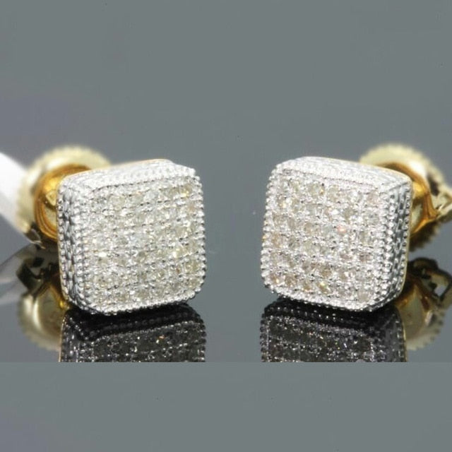 Gold Color Iced Out Square Bling Stud Earring Men Hip Hop Luxury Rhinestone Geometry Stud Earrings For Women Jewelry
