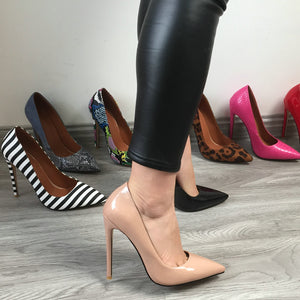 Women Classic Pumps Extreme High Heels 12cm Sexy Stilettos Ladies Pointed Toe Shoes Nude Red Blue Black Beige Leopard Heels