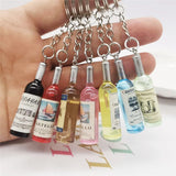 Cute Novelty Resin Beer Wine Bottle Keychain Assorted Color for Women Men Car Bag Keyring Pendant Accessions Wedding Party Gift