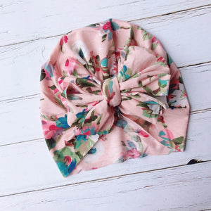 Fashion Cute Baby Hat Toddler Kids Soft Cotton Turban Beanies Hat Boy Girl Floral Bowknot Head Wraps For 0-3 Years Kids