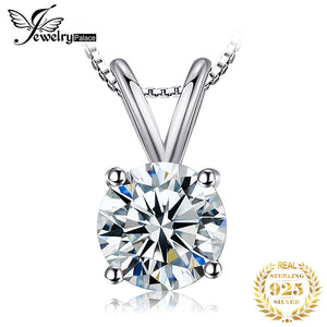 CZ Solitaire Pendant Necklace 925 Sterling Silver Choker Statement Necklace Women Silver 925 Jewelry No Chain