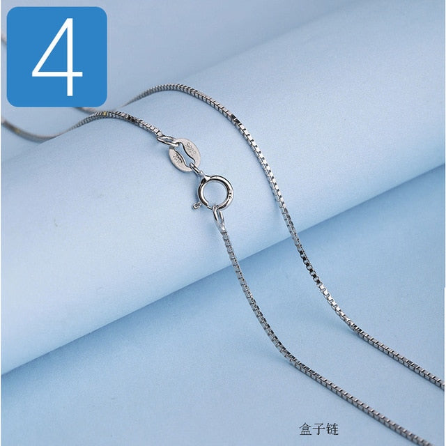 Genuine 925 Sterling Silver Water-wave Snake Box Chain For Woman 40cm/45cm 0.7/0.8mm Chain Necklace