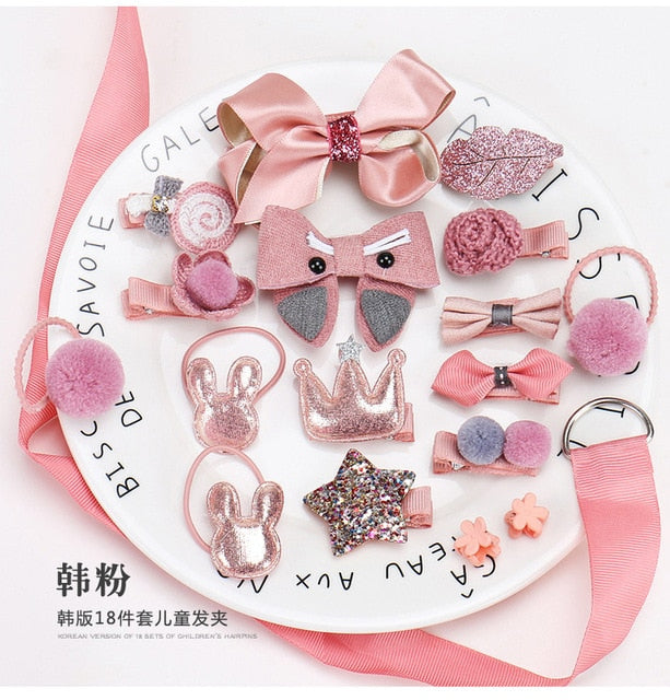 18pcs Baby Girl Headband for Children's Turban Darling Bows Kids Headwear Elastic Hair Bands Clips Hairpins Set Baby Accessories