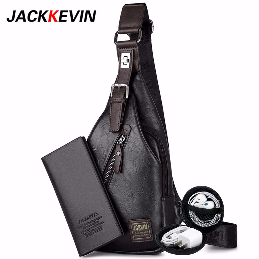 Men's Fashion Crossbody Bag Theftproof Rotatable Button Open Leather Chest Bags Men Shoulder Bags Chest Waist Pack