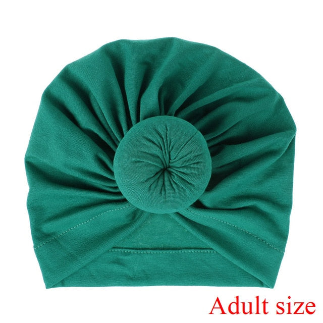 Fashion Mommy and Baby Cotton Round Ball Flower Hat Women Caps Girls Newborn Turban Knot Kids Adult Headwear Hair Accessories