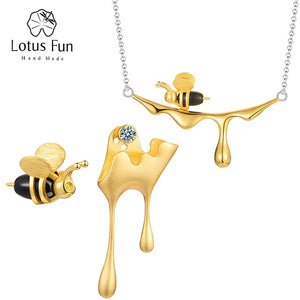 Lotus Fun 18K Gold Bee and Dripping Honey Pendant Necklace Real 925 Sterling Silver Handmade Designer Fine Jewelry for Women