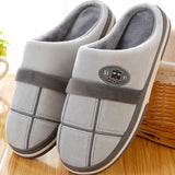 Home Men Slippers Winter Big Size 45-50 Gingham Warm Fur Slippers for male Antiskid Suede Short Plush House shoes men Hot sale