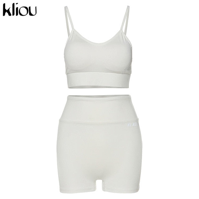 reflective letter print cotton 2 piece set women biker shorts v-neck crop top sleeveless casual outfits summer fashion