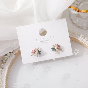 Korean Trendy Handmade Colorful Sweet Flowers Stud Earrings For Women Shiny Jewelry Fashion Oorbellen Gifts