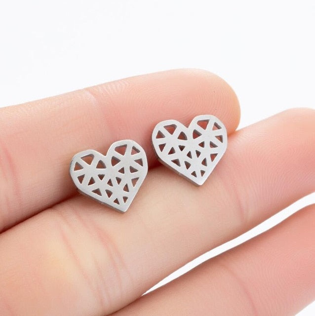 Stainless Steel Geometric Earrings for Women Girls Minimalist Jewelry Heart Bird Ghost Umbrella Cat Volleyball Earing Stud