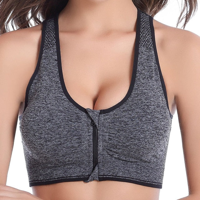 Women Zipper Push Up Sports Bras Plus Size XL Padded Wirefree Breathable Sports Tops Fitness Gym Yoga Sports Bra Top