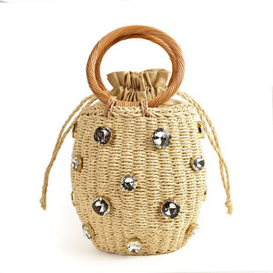 Handmade Rhinestone Crystal Embellished Straw Bag Small Straw Bucket Bags Lady Travel Purses and Handbags