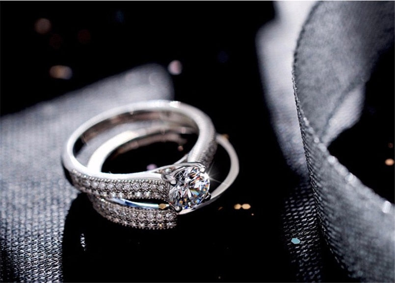Silver Rings For Women Simple Design Double Stackable Fashion Jewelry Bridal Sets Wedding Engagement Ring Accessory