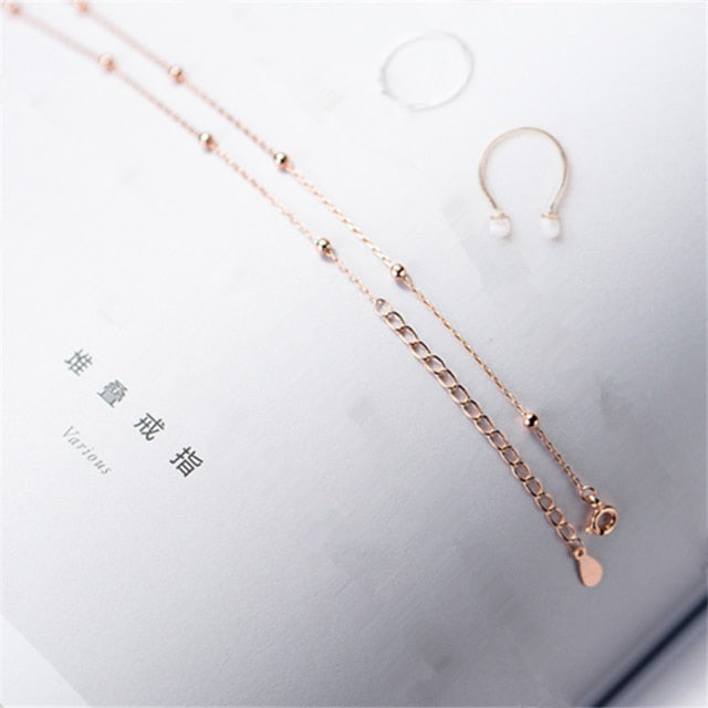 Genuine 100% 925 Sterling Silver Cross Chain Glossy Bead Choker Necklace Women Minimalist Fine Jewelry Cute Accessories