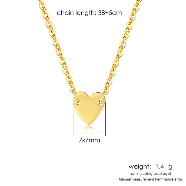 925 Sterling Silver Necklace For Women Heart Shape Pendant Choker Necklace Gold Color Simple Style Fine Jewelry