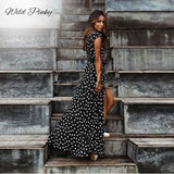 Polka Dot Long Dresses Women Split Short Sleeve Summer Casual Dress Streetwear Black Maxi Dress