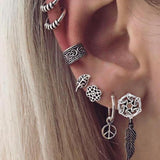 Vintage Silver Color Geometric Stud Earrings Set for Women Fashion Crystal Stone Heart Flower Leaf Chain Bohemian Jewelry