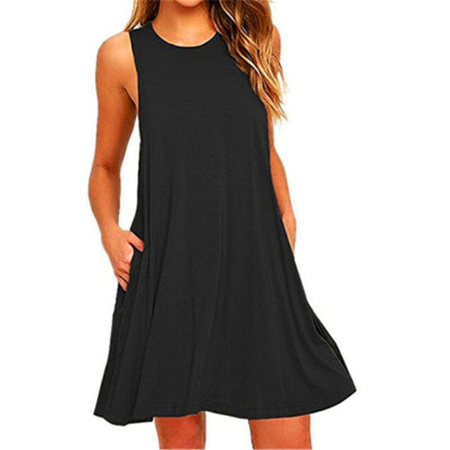Summer Cotton Dress Women Sleeveless Beach Black Dress Casual  Pocket Loose Dress Female Plus Size Dress Fashion Clothing