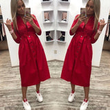 Women Casual Sashes a Line Party Dress Ladies Button Turn Down Collar OL Style Shirt Dress Summer Solid Knee Dress