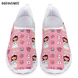 New Cartoon Nurse Doctor Print Women Sneakers Slip On Light Mesh Shoes Summer Breathable Flats Shoes