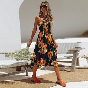 Vintage Casual Sundress Female Beach Dress Midi Button Backless Polka Dot Striped Women Dress Summer Boho Sexy Floral Dress