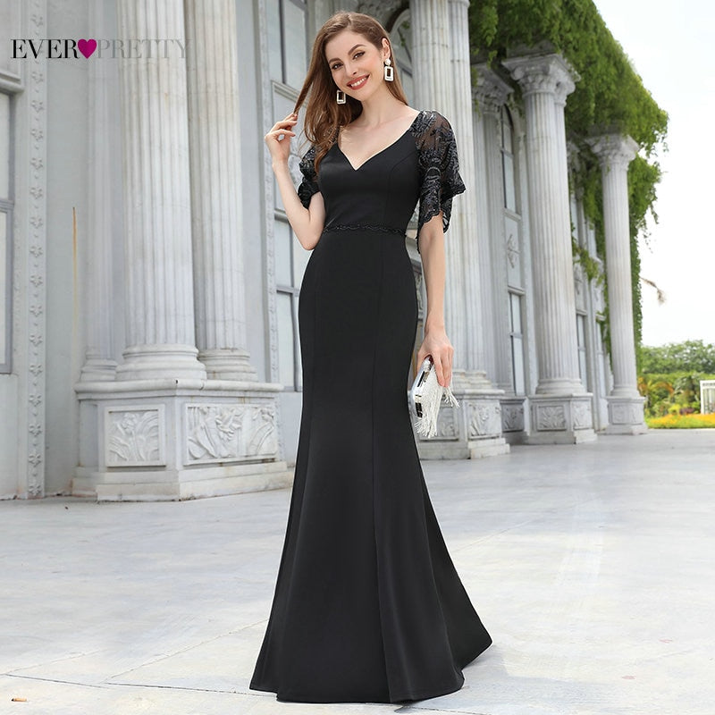 Robes Elegant V Neck Flare Sleeve Black Formal Dresses Ever Pretty Lace Mermaid Evening Dress Plus Size Robe De Soiree