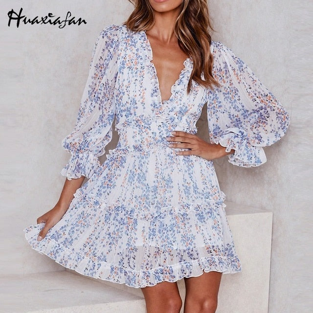 women dresses Sexy v-neck backless dress printed Elegant lantern sleeve ruffle dresses summer holiday mini dress