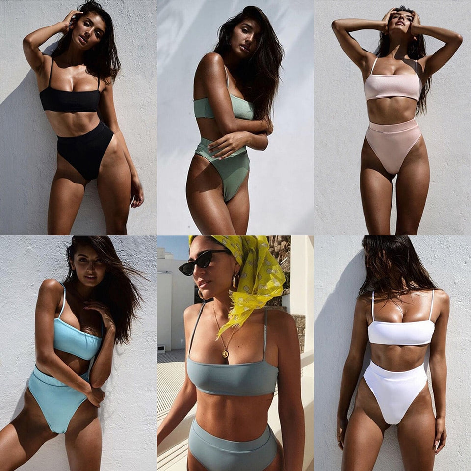 Sexy Bikinis Solid Push Up Bikini Hot Sale Padded Bra Straps High Waist Swimsuit Female Swimwear Women Biquini