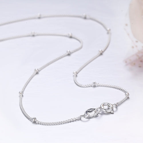 35-80cm Slim Thin Pure 925 Sterling Silver Beads Curb Chain Choker Necklaces Women Girls Jewelry