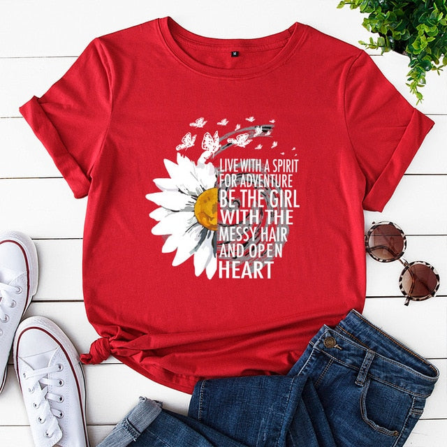 Summer Cotton Women T-shirts Creative Chrysanthemum Inspirational Letter Print T Shirt Plus Size Mujer Tee Tops