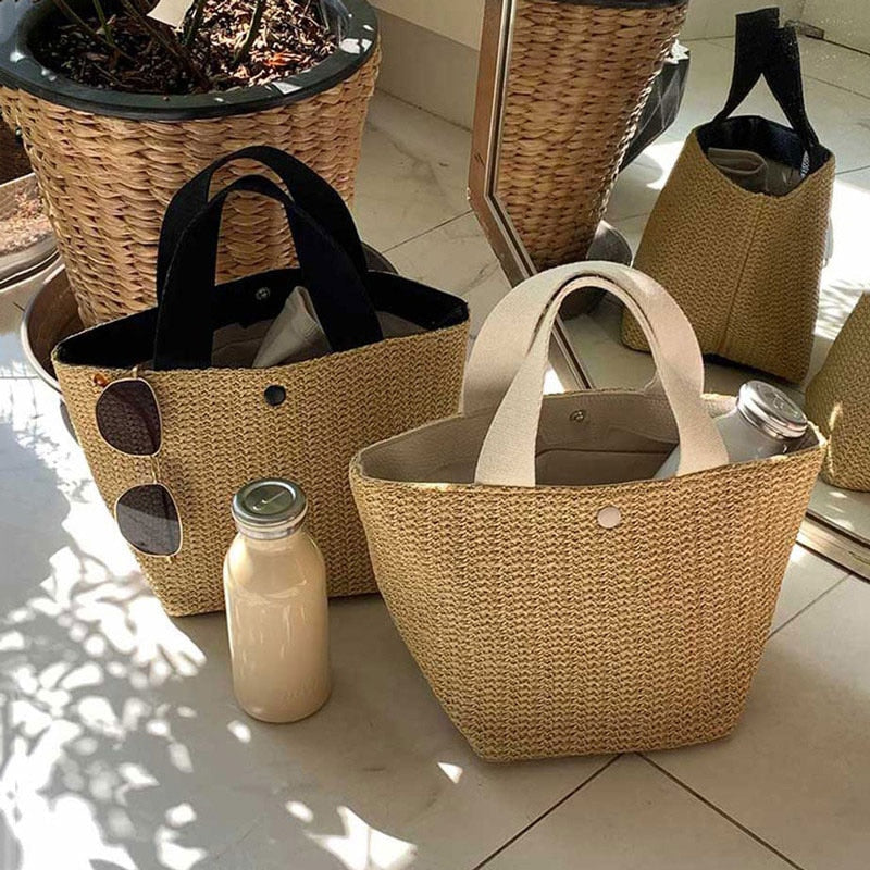 Women Straw Bag For Beach 2020 Bohemian Style Small Totes Knitting Summer Purses And Handbags Vacational Bucket Bags