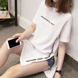 Plus size WONDERFUL DAY Print Long T shirts Summer Women Loose Slit Femme Tops Cotton Tshirt Short sleeve Ladies t-shirt