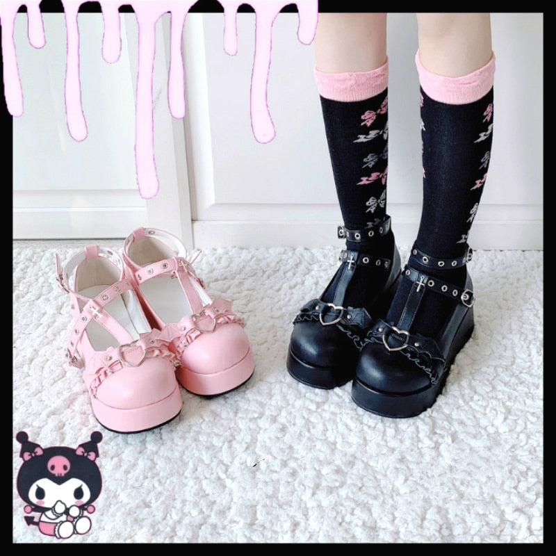 Little Bat Style Bowknot Demon Dark Goth Punk Platform Lolita Shoes Kawaii Shoes Loli Cosplay High Heel 5.5cm Pu Shoes