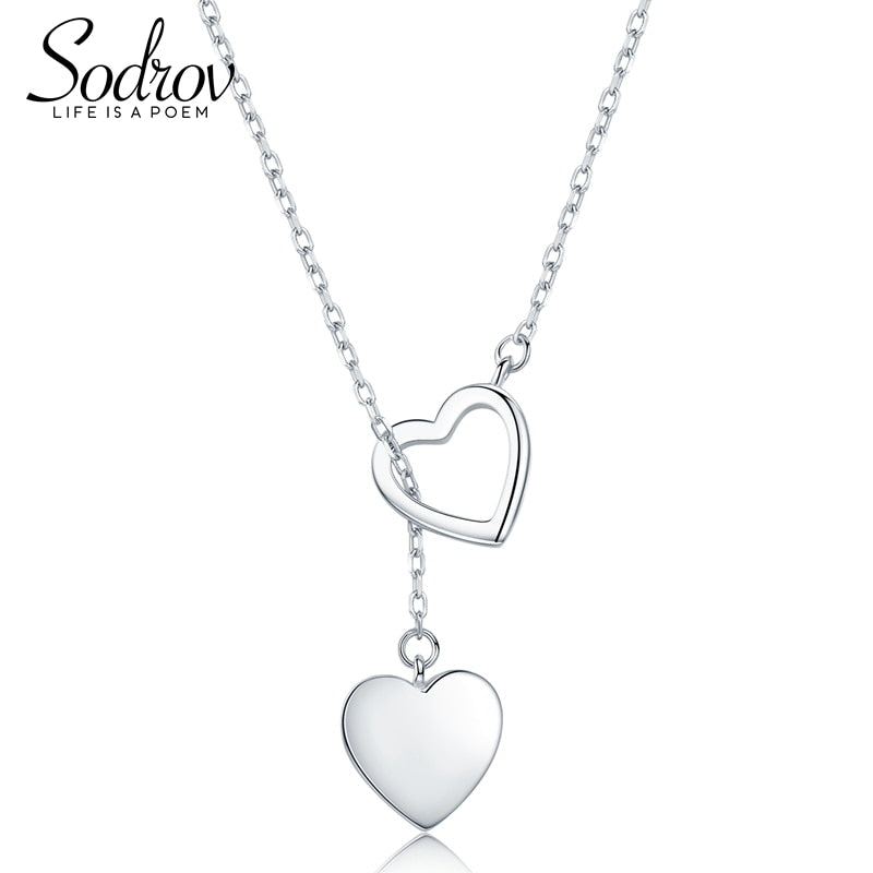 925 Sterling Silver Necklace Pendant For Women Double Heart High Quality Fine Silver 925 Jewelry