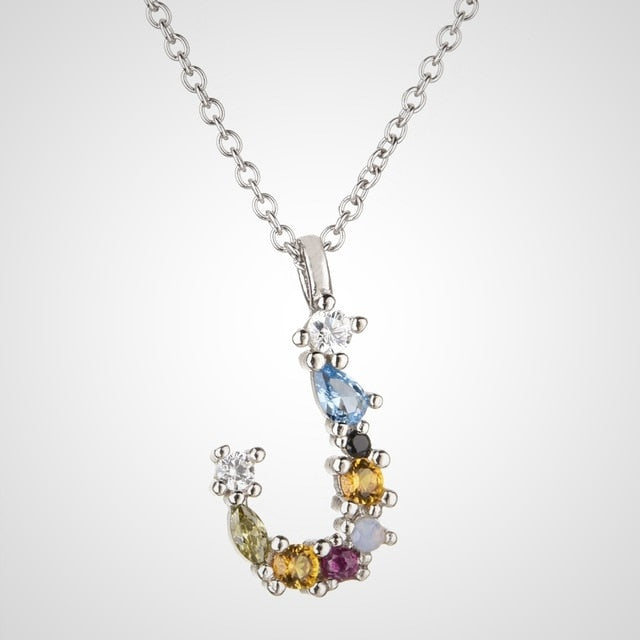 925 Sterling Silver Gold Liter M Pendant Initial F Alphabet Necklace Monogram Opals Women Accessories Jewelry