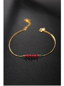 DAIMI Simple Faceted Ruby Bracelet gemstones Women's Day Genuine Ran Yellow 18K Gold Caibao Jewelry Gift