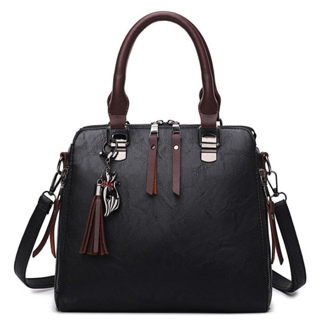 PU Leather Handbag For Women Girl Fashion Tassel Messenger Bags With Ball Bolsa Female Shoulder Bags Ladies Party Crossby Bag