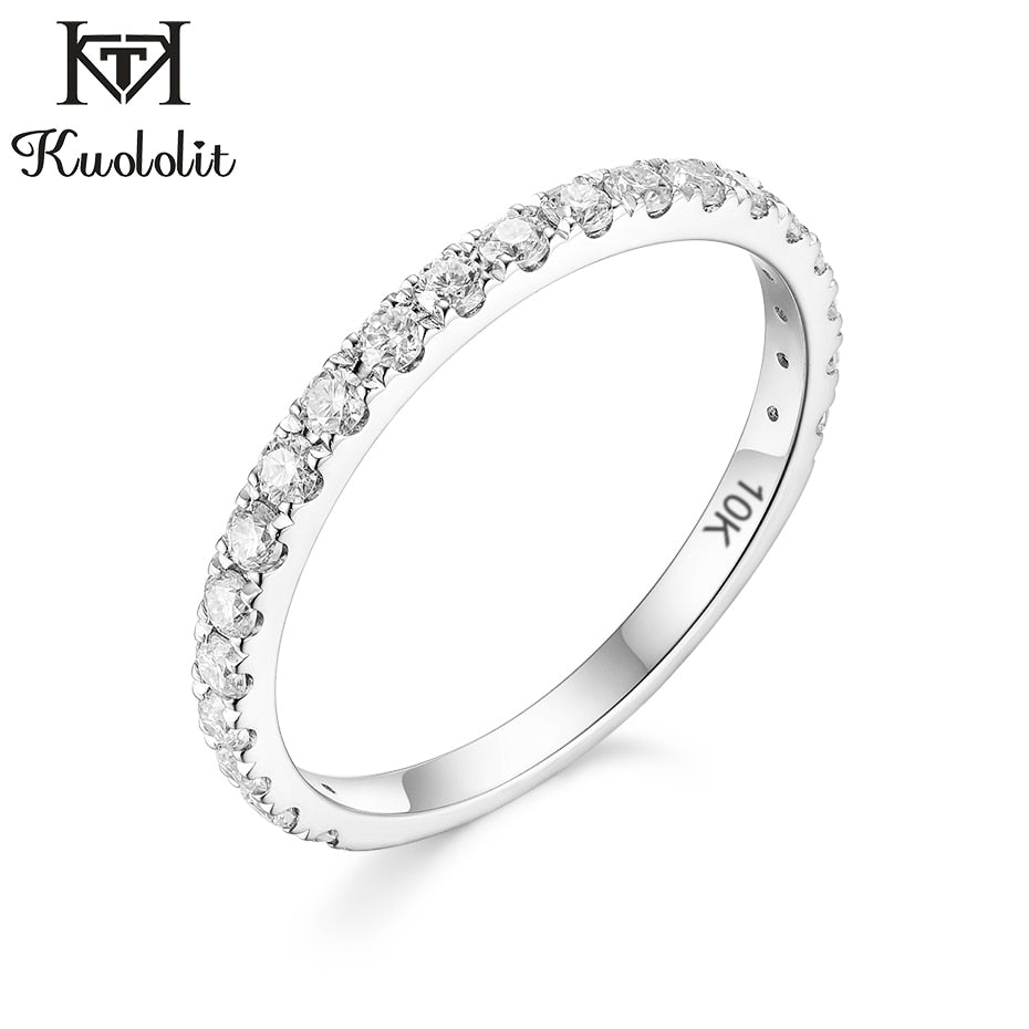 Solid 10K white Gold Ring for Women natural Solitaire Ring matching half eternity wedding band Engagement