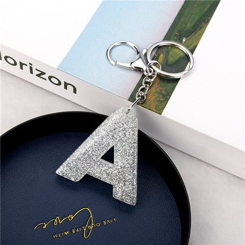 1PC Women Keychains  Handbag  Car Pendants 26 English Letter Keyring  Charms   Glitter Resin Word