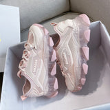 Women Chunky Platform Sneakers Fashion Lace Up Old Dad Shoes Woman 5cm High Heels Basket Female Casual Shoes Pink Trainers