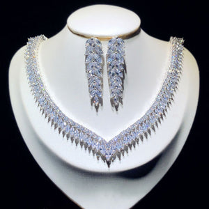 Fine Jewelry Sets For Women Sterling S925 Silver Cubic Zirconia Leaves Bridal Drop Earrings Necklaces Pendants Set