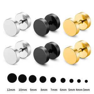 1 Pair Fashion Punk Earrings Double Sided Round Bolt Stud Earrings Male Gothic Barbell Black Earrings Men women Jewelry Gift
