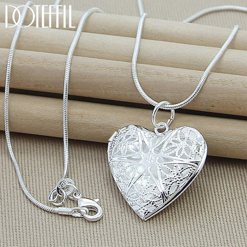 925 Sterling Silver Photo Frame Pendant Necklace 18 Inch Snake Chain Woman Charm Statement Necklace Fashion Jewelry