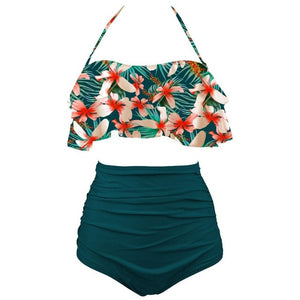 New Bikinis Women Swimsuit High Waist Bathing Suit Plus Size Swimwear Push Up Bikini Set Vintage Beach Wear Biquini