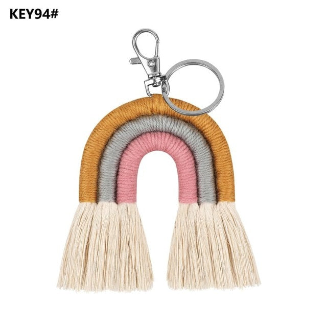 Weaving Rainbow Keychains for Women Boho Handmade key Holder Keyring Macrame Bag Charm Car Hanging Jewelry Gifts