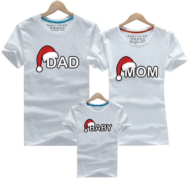Christmas Dad Mom Baby T-Shirt Clothing for Family Matching Outfits Clothes Mother Daughter Father Son Look Mommy and Me Shirt